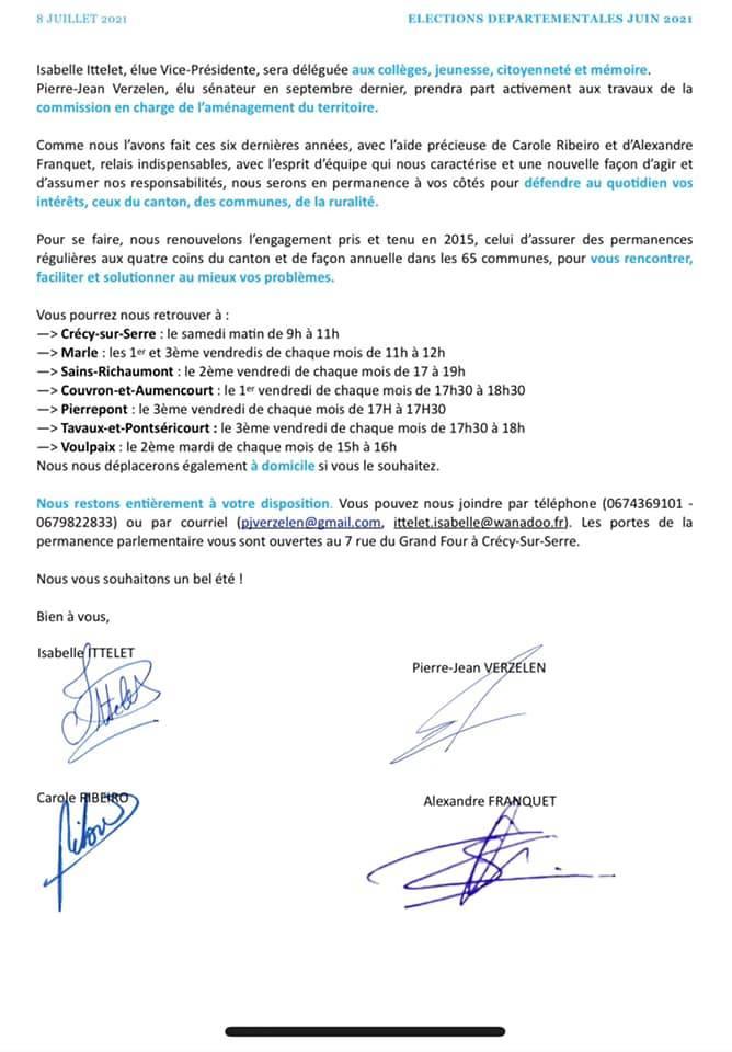 élections départementales du canton de Marle.
